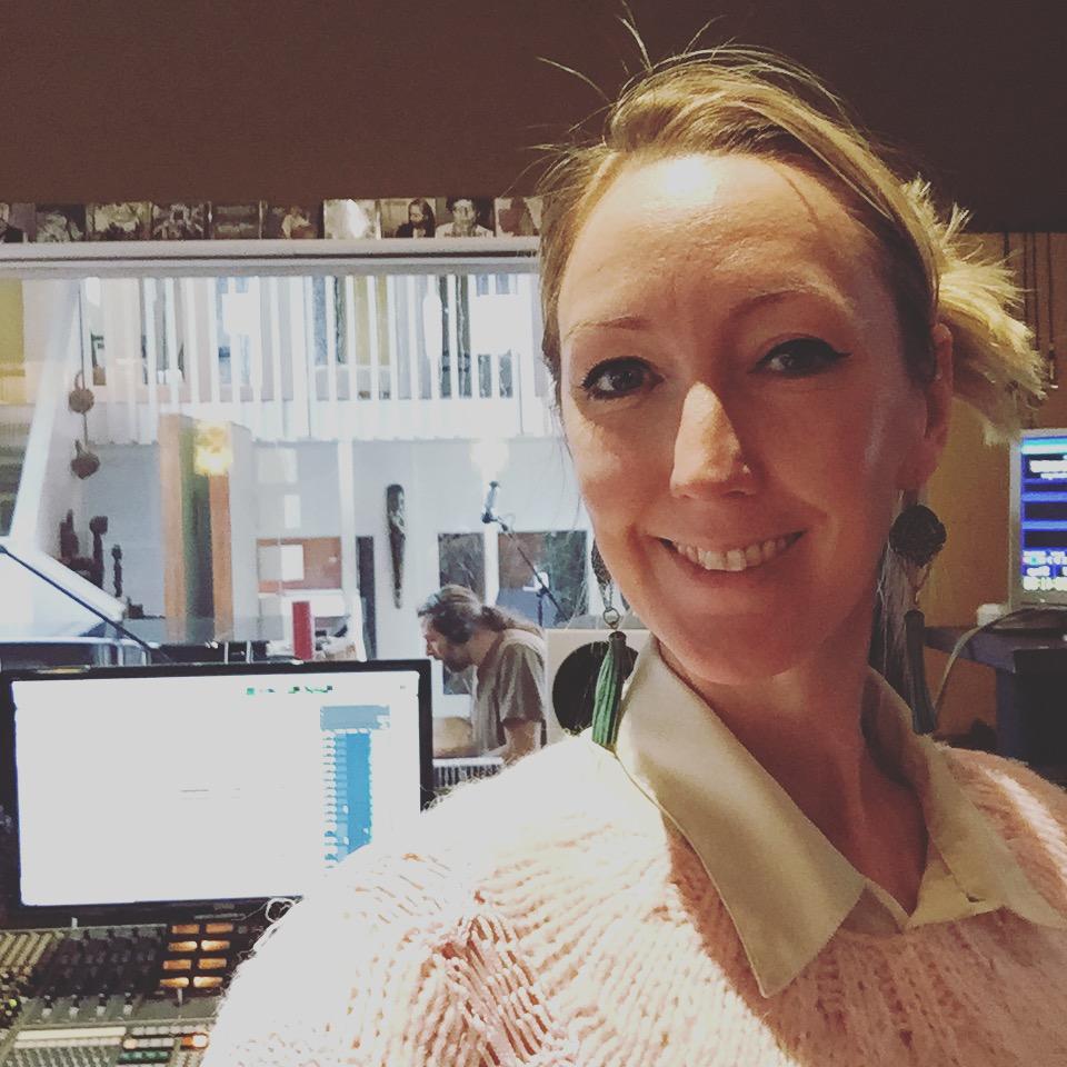 Bild från inspelningen av Kajsa Larssons EP i Kingside studio